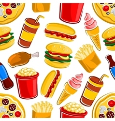 Fast food drinks and dessert pattern vector image
