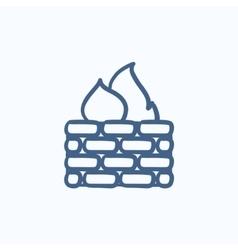 Firewall sketch icon vector image