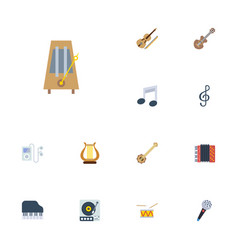 Flat icons acoustic lyre octave keyboard and vector