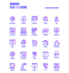 flat line icons design-seo and web optimization vector image