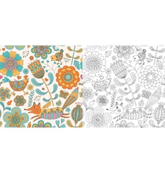 Floral seamless pattern with fox hen and chicken vector