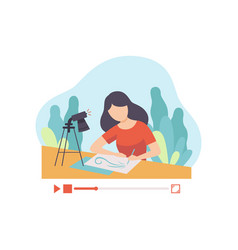 girl drawing picture young woman blogger creating vector image