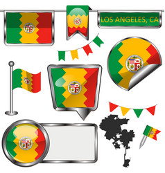 Glossy icons with flag los angeles ca vector