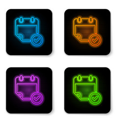 glowing neon calendar with check mark icon vector image