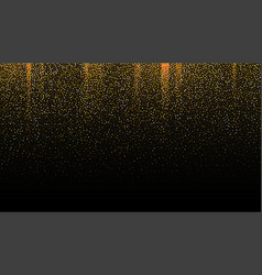 Gold glitter seamless border on black background vector