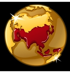 Golden globe with marked asia countries vector