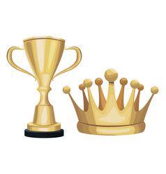 golden trophy and crown decoration ornament vector image