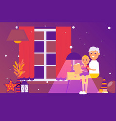 grandmother reading bedtime story to grandson vector image