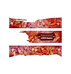 Graphic artistic horizontal banners with doodle vector