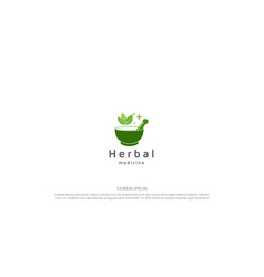green mortar and pestle with leaf leaves vector image