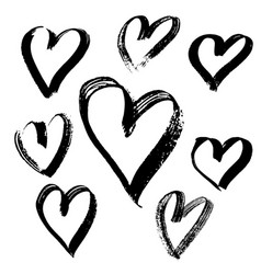 grunge hearts set valentine day print vector image