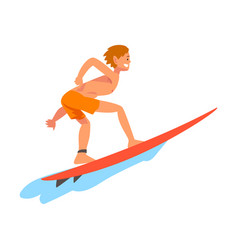 guy surfer character riding on ocean wave vector image