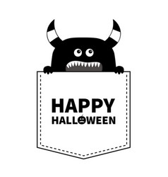 happy halloween black monster silhouette in the vector image