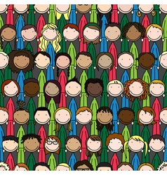 Happy kids pattern vector image vector image