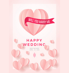happy wedding postcard with love symbol paper art vector image