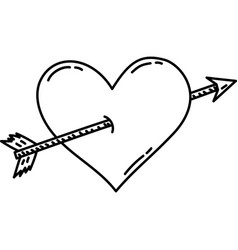 Heart arrow icon doddle hand drawn or black vector