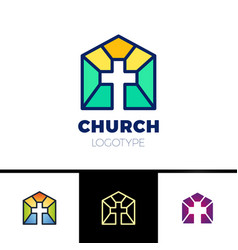 Home church logo house bible logotype calvary vector