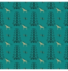 Horse among forest trees seamless pattern vector