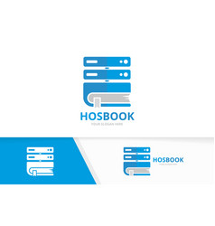 host and book logo combination server and vector image