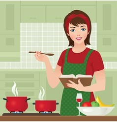 Housewife in the kitchen vector