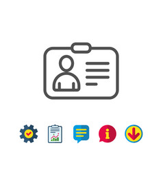 Id card line icon user profile sign vector