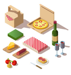 isometric picnic set pizza box wine and basket vector image
