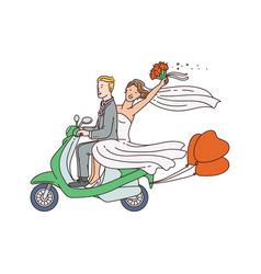 just married couple on motorbike or moped sketch vector image