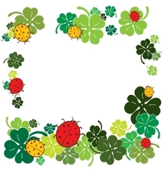 Ladybugs and clover leaves frame Flat style vector image