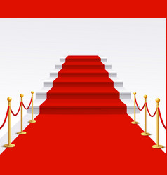 luxury red carpet staircase background success vector image