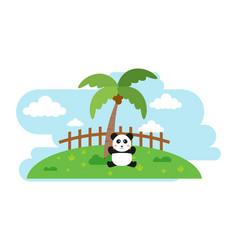 Panda cute animals in cartoon style wild animal vector