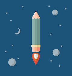 pencil rocket flies into space vector image
