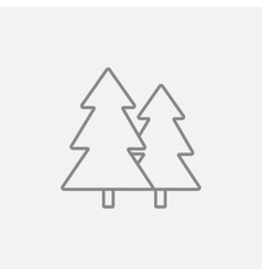 Pine trees line icon vector image