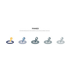 Pinned icon in different style two colored and vector