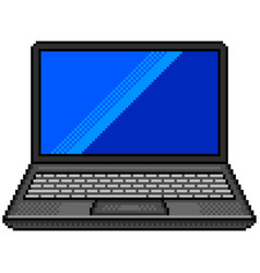 pixel black laptop computer detailed isolated vector image