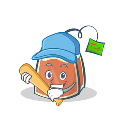 Playing baseball tea bag character cartoon vector