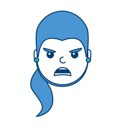 Pretty woman angry frustrated facial expression vector