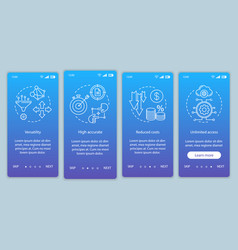 Product advantages onboarding mobile app page vector
