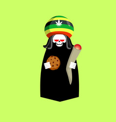Rasta death rastafarians grim reaper hat rastaman vector