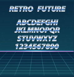 retro futuristic background chrome alphabet in vector image
