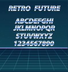 retro futuristic background chrome alphabet in vector image