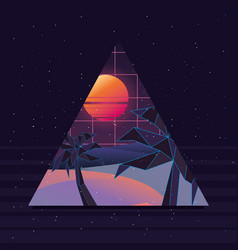 retrowave design of island with palms vector image
