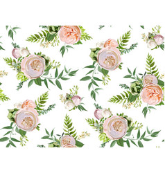 seamless pattern bouquets of pink white garden vector image