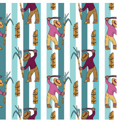 Seamless pattern with sugar cane collector vector
