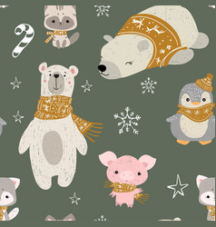 Seamless pattern with woodland animals pol vector
