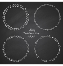 set circle cute frames for st valentines vector image