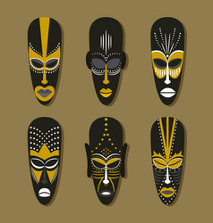 Set of ethnic tribal masks vector