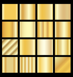 set of gold gradients golden squares collection vector image