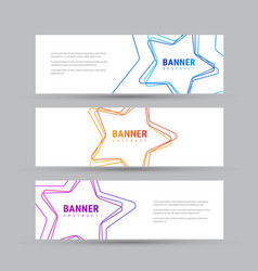 set of white horizontal banners with vector image