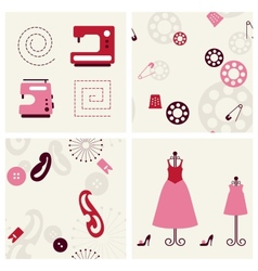 Sewing seamless backgrounds and objects set vector image vector image
