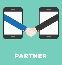 Shaking hand from smart phone flat design e vector